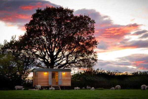 Shepherd Hut at Sunset