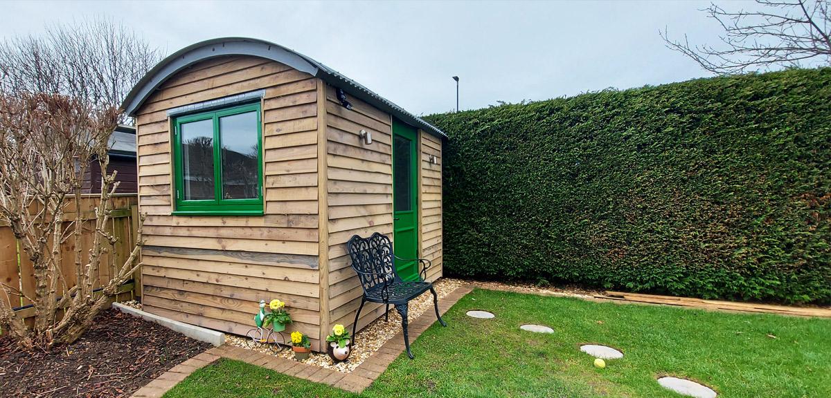 A garden office with a shepherd hut twist!
