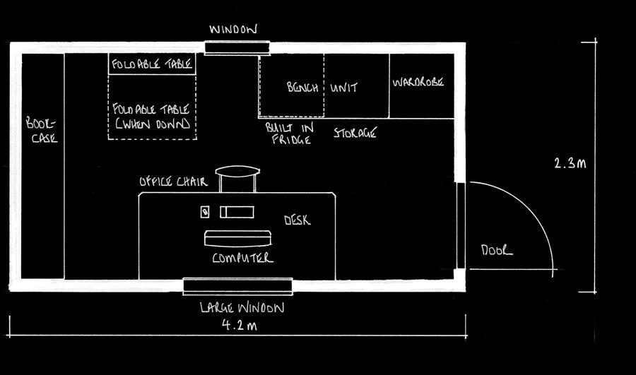 4.2m Garden Office Floorplan