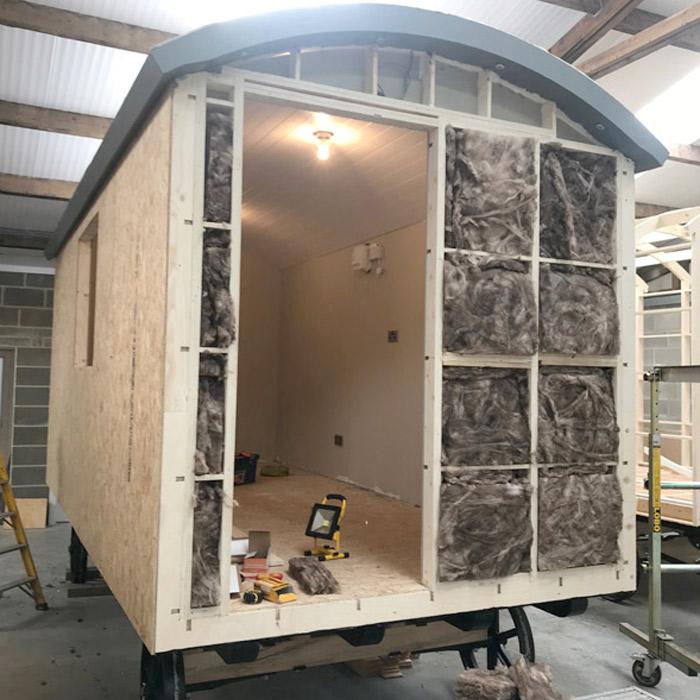 Wool insulation in a Shepherds Hut